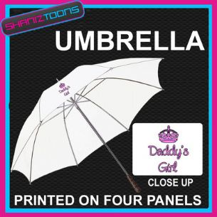 "DADDY'S GIRL LADIES DESIGN WHITE 30"" UMBRELLA LONG HANDLE"
